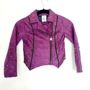 Disney Descendants Faux Leather Moto Jacket purple